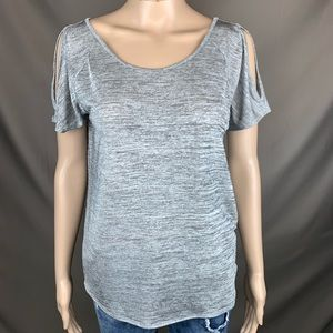 Juicy couture gray sheer shoulderless shirt